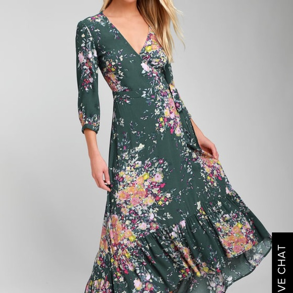 d5ec9182054 NWT Love Stitch Floral Green Wrap Dress size Small